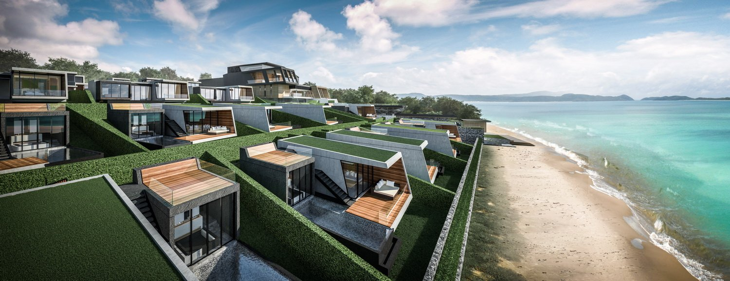Rendered image_Villas on the sloping hill Tin Render}