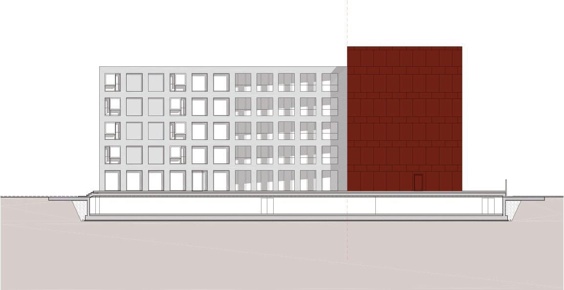 Prospetto interno dell'edificio del DSU Ipostudio architetti}
