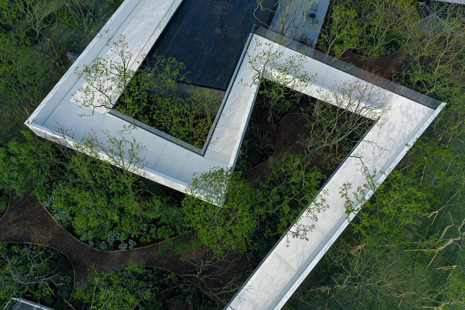 The landscape bridge is built on the hillside wriggled and scattered and integrated with the building. Visitors can feel the wild pleasure of walking through the trees. Prixm Images