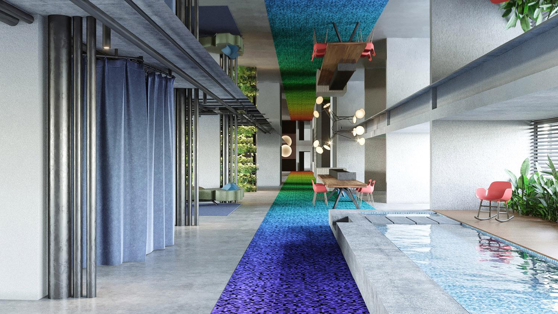 Viata della hall con la vasca e la prospettiva verso il bar ed il ristorante Carlo Berarducci Architecture