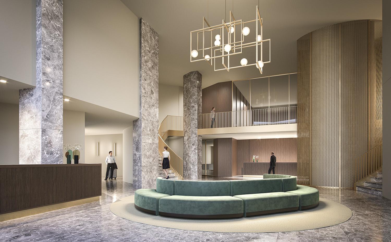 Hall di ingresso dell'hotel e del centro congressi Metaverso