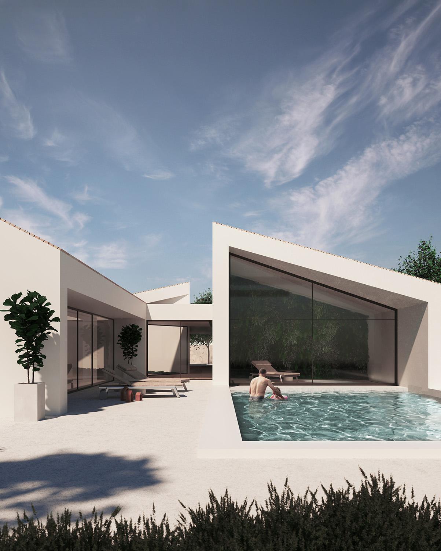 Esterno diurno con piscina Render by 3ndy Studio