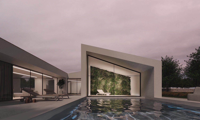 Esterno notturno con piscina Render by 3ndy Studio