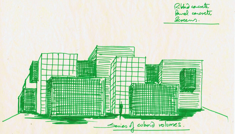 SOUTH ELEVATION SKETCH Sanjay Puri Architects}