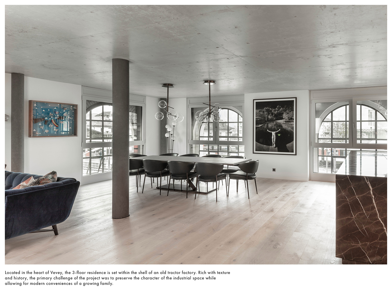 Rich with texture and history, the primary challenge of the project was to preserve the character of the industrial space while allowing for modern conveniences of a growing family. Delphine Burtin}