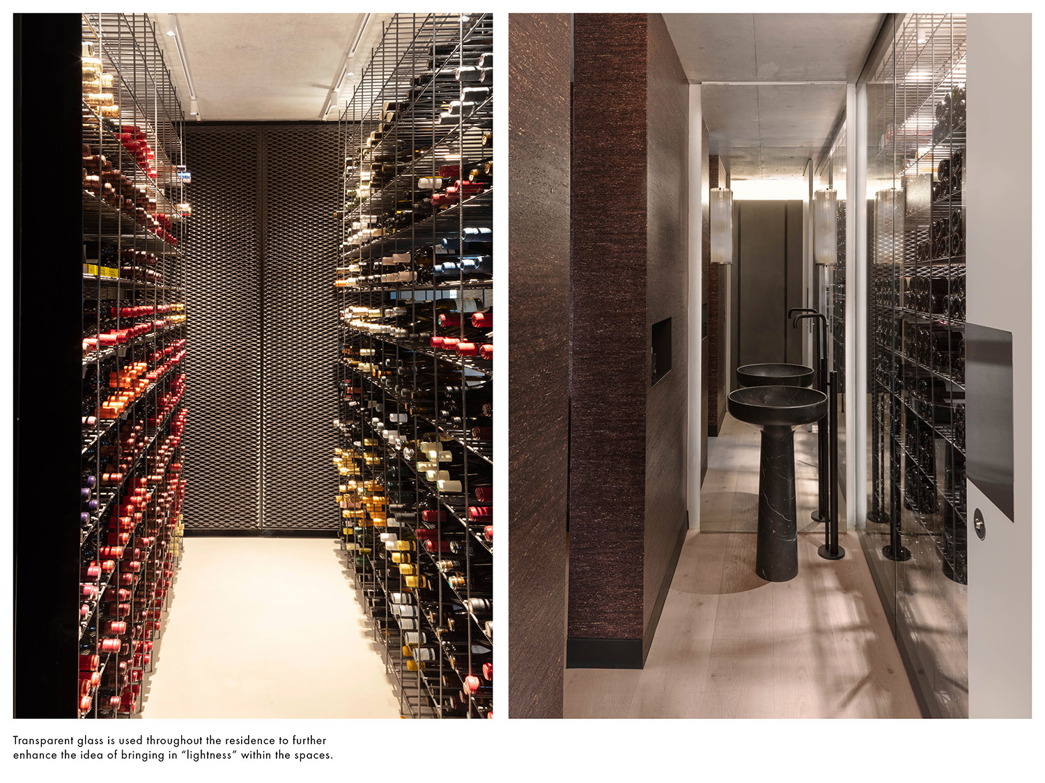"""Transparent glass is used throughout the residence to further enhance the idea of bringing in """"lightness"""" within the spaces. Delphine Burtin}"""