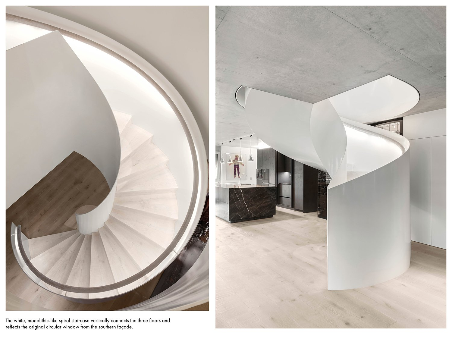 The spiral staircase reflects the original circular window from the southern façade. Delphine Burtin}