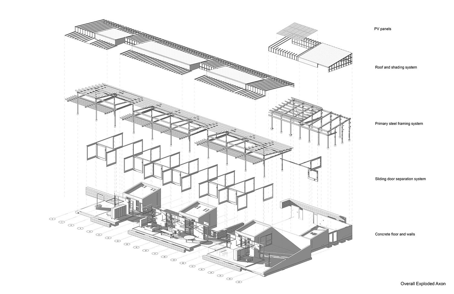 Sections through the house showing relationship to slope, trees, and river. Anderson Anderson Architecture}