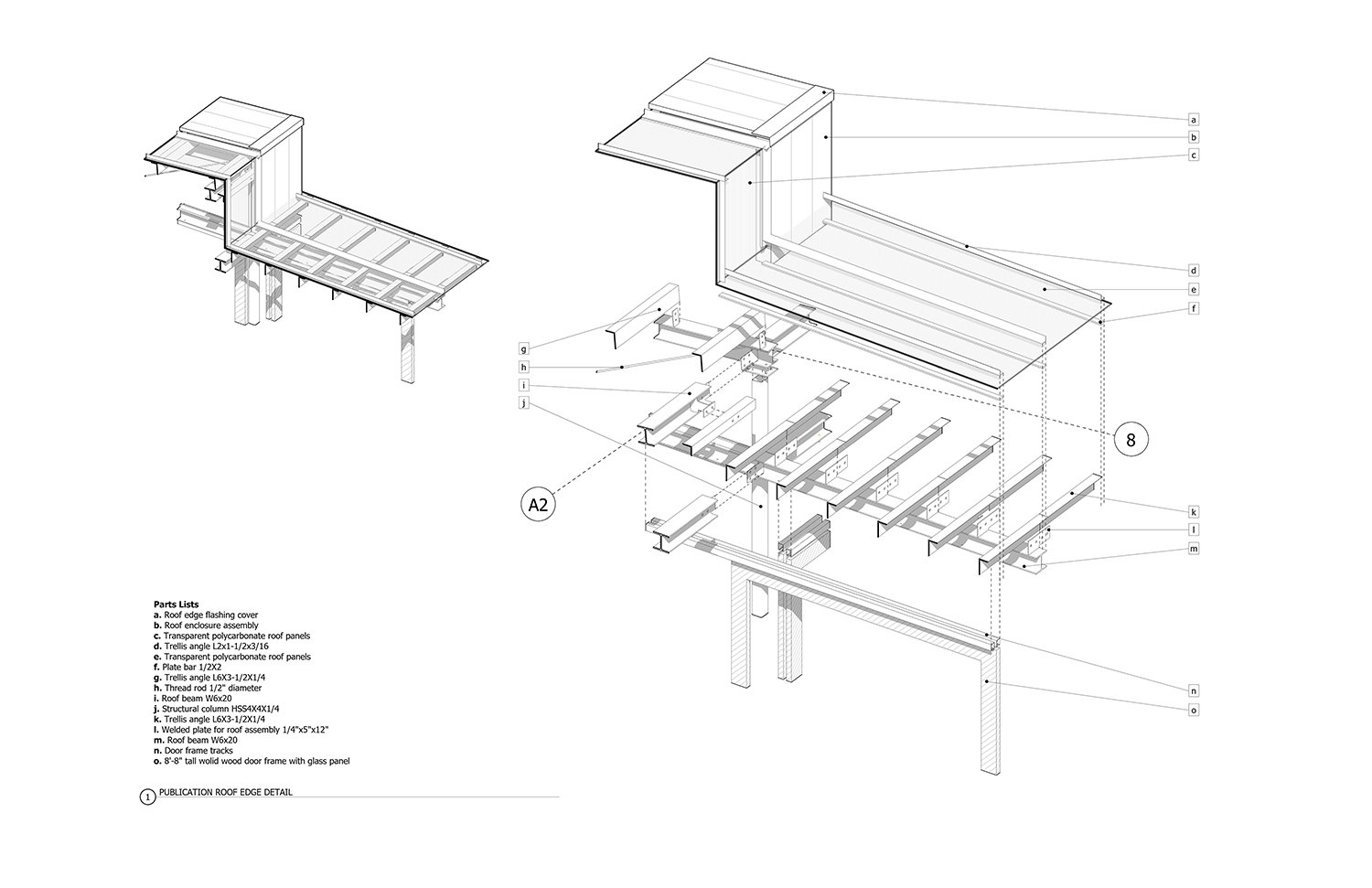 Exploded and assembled views of typical roof system module, with list of components. Anderson Anderson Architecture}