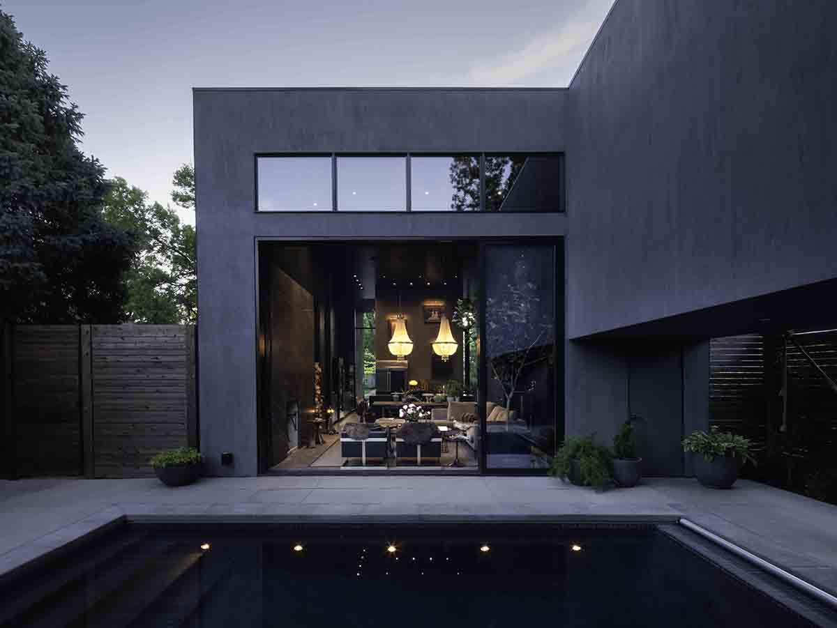 Pool Courtyard Facing Living Room Matt Winquist