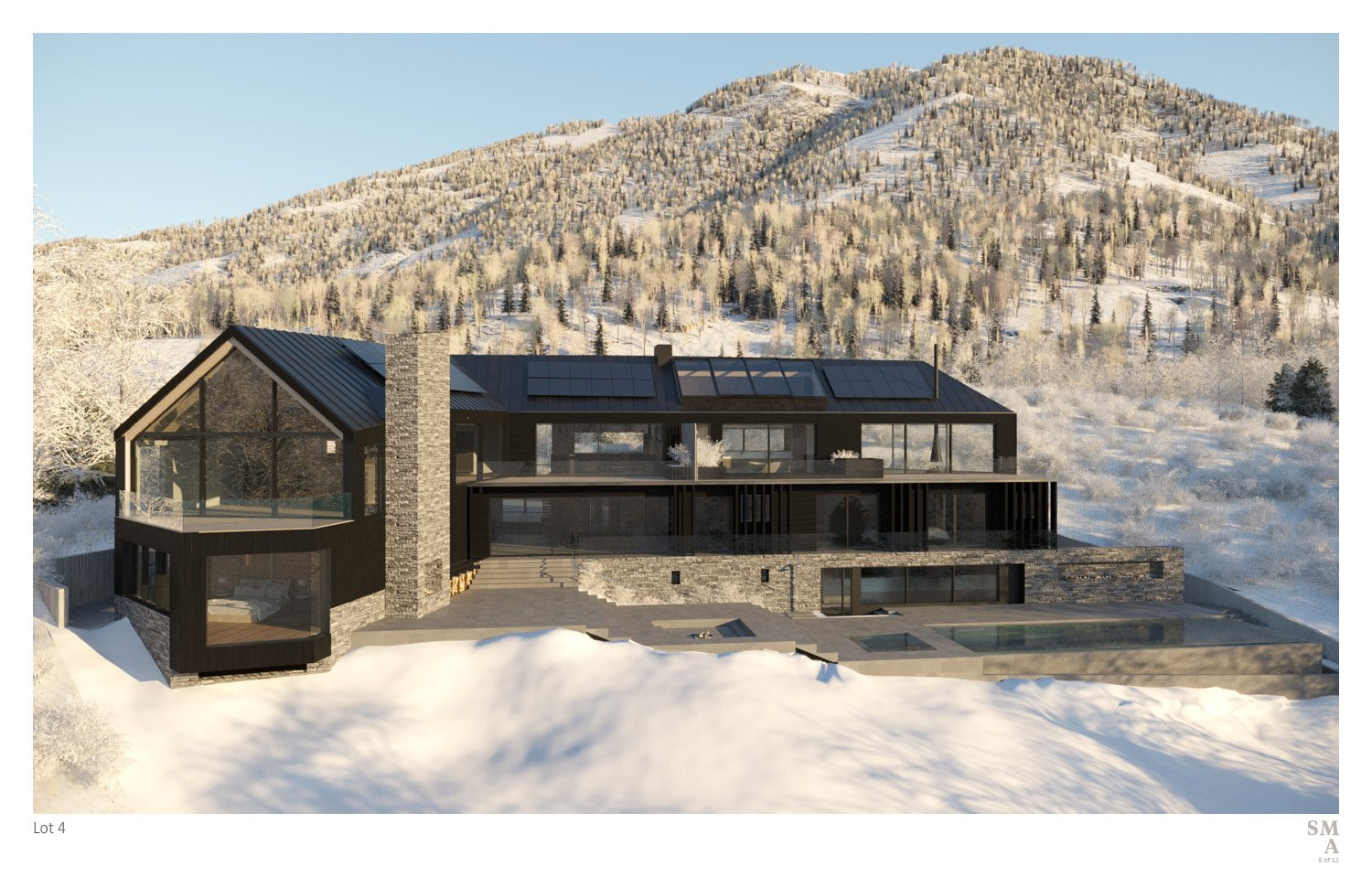 Lot 4 - South elevation of the sheared and chamfered volumes. SMA Design Team & Consultants