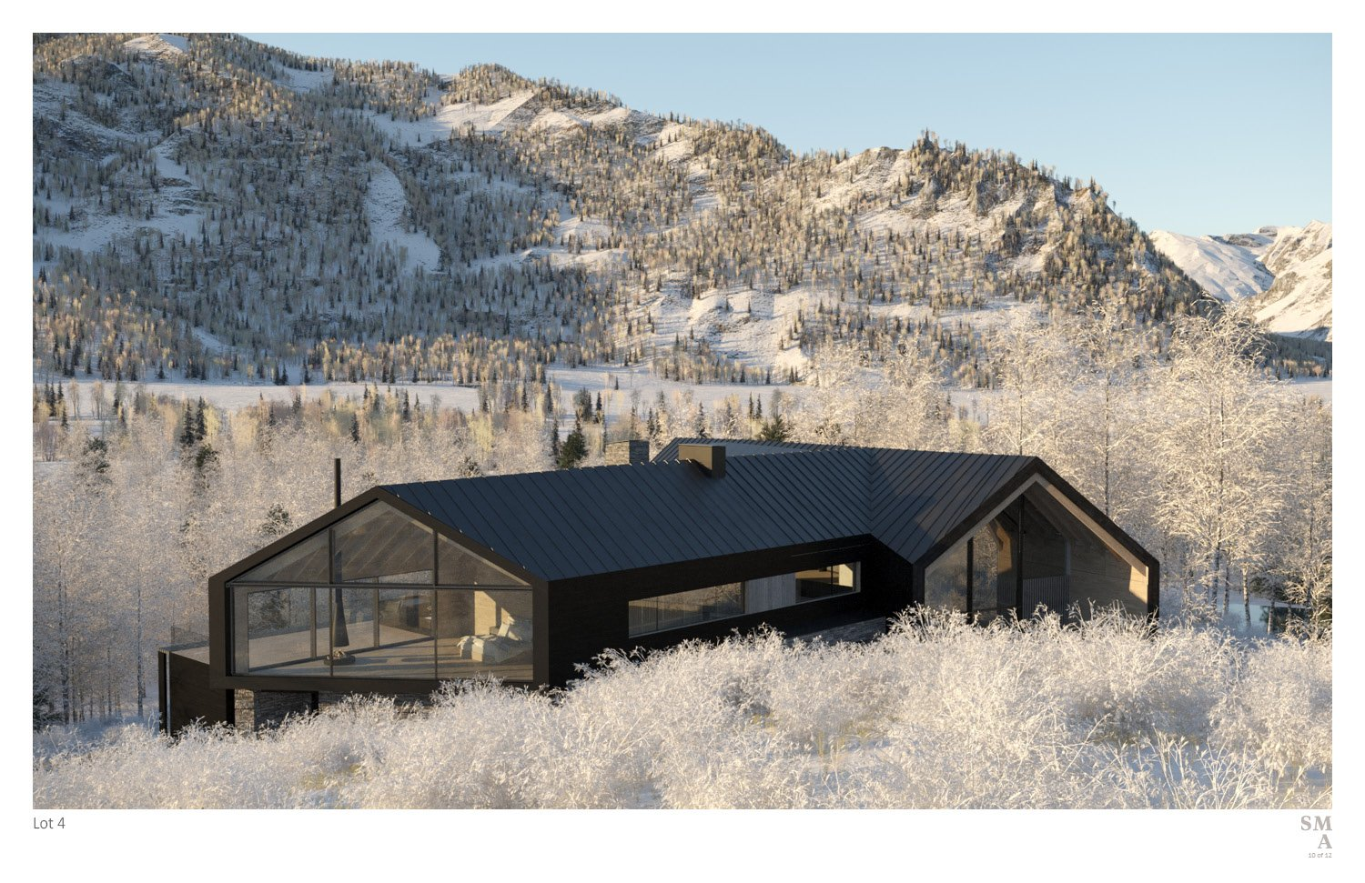 Lot 4 - Northern Elevation: Nestled into the mountain side. SMA Design Team & Consultants