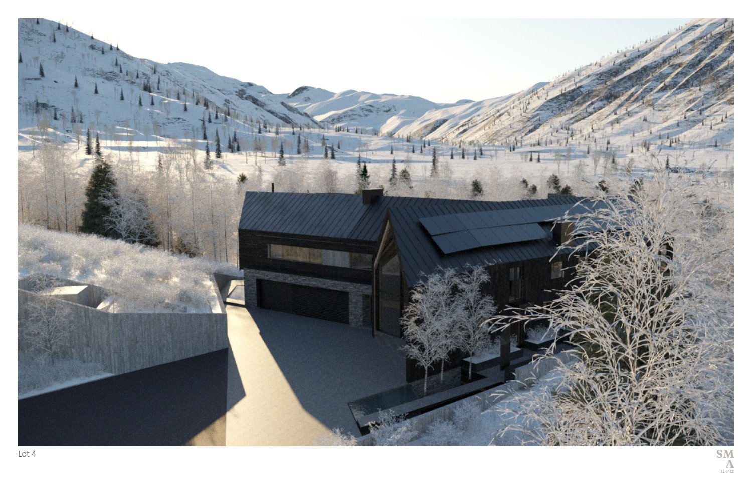 """Lot 4 - A contextual view of the """"imperfect"""" chevron structure situated in the surrounding mountain range. SMA Design Team & Consultants"""