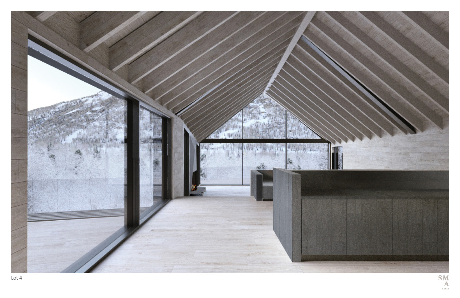 Lot 4 - Interior View: West Wing volume housing public spaces of this nestled mountain home. SMA Design Team & Consultants