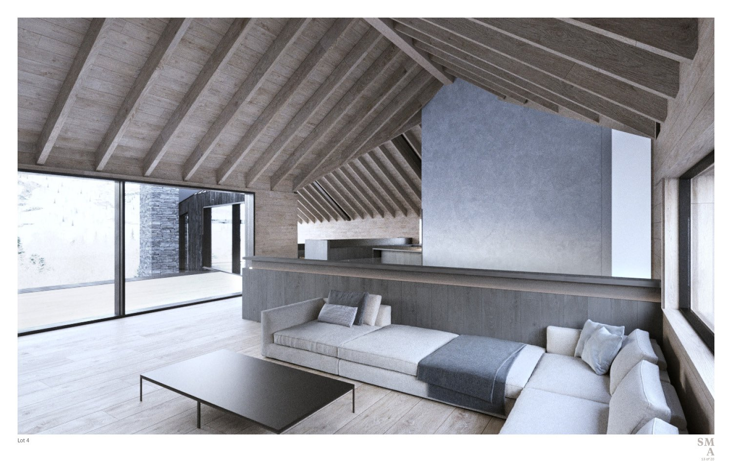 """Lot 4 - Interior view of the intersecting point between the west and east volumes that slips past each other, creating an """"imperfect"""" chevron with gabled volumes. SMA Design Team & Consultants}"""