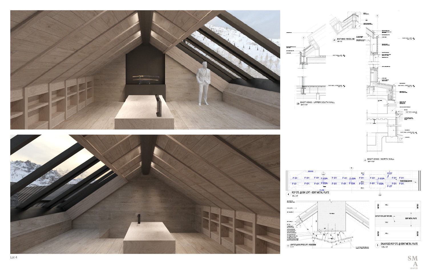 Lot 4 - Office Loft: an intimate office space with an operable skylight. SMA Design Team & Consultants}