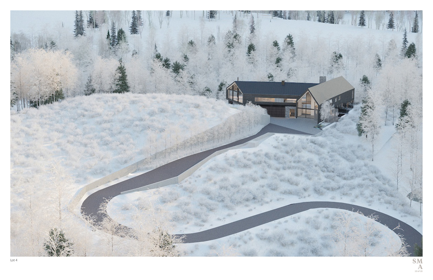 Lot 4 - Entry sequence & Driveway approach. SMA Design Team & Consultants}