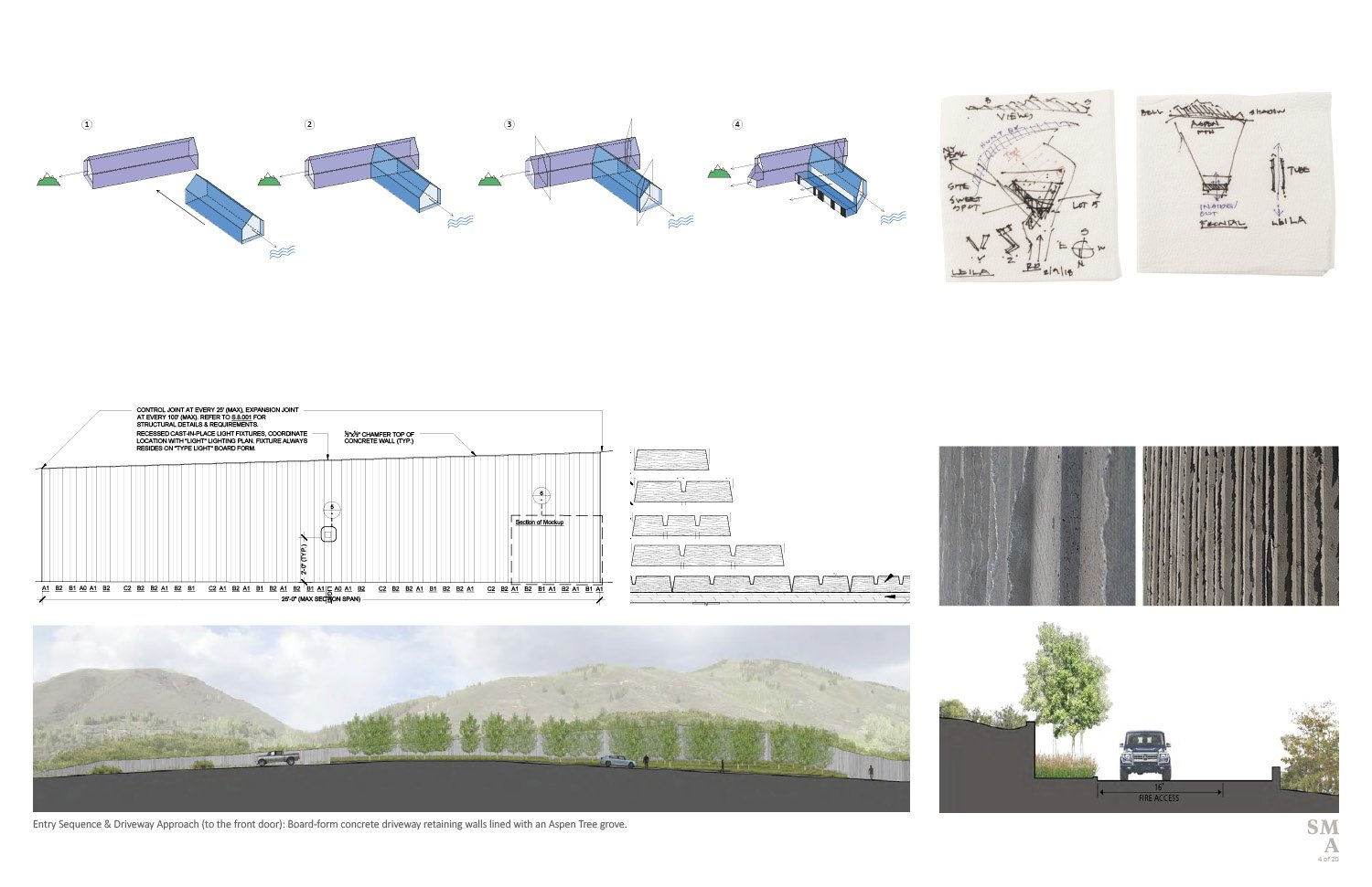 Lot 4 - Conceptual diagrams describing the massing strategies and evolution. Driveway retaining wall materiality and approach sequence to the entry. SMA Design Team & Consultants}