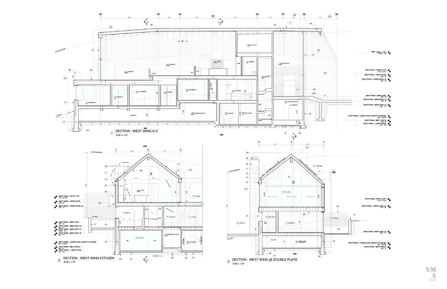 Lot 4 - West Wing Sectional Drawings. SMA Design Team & Consultants}