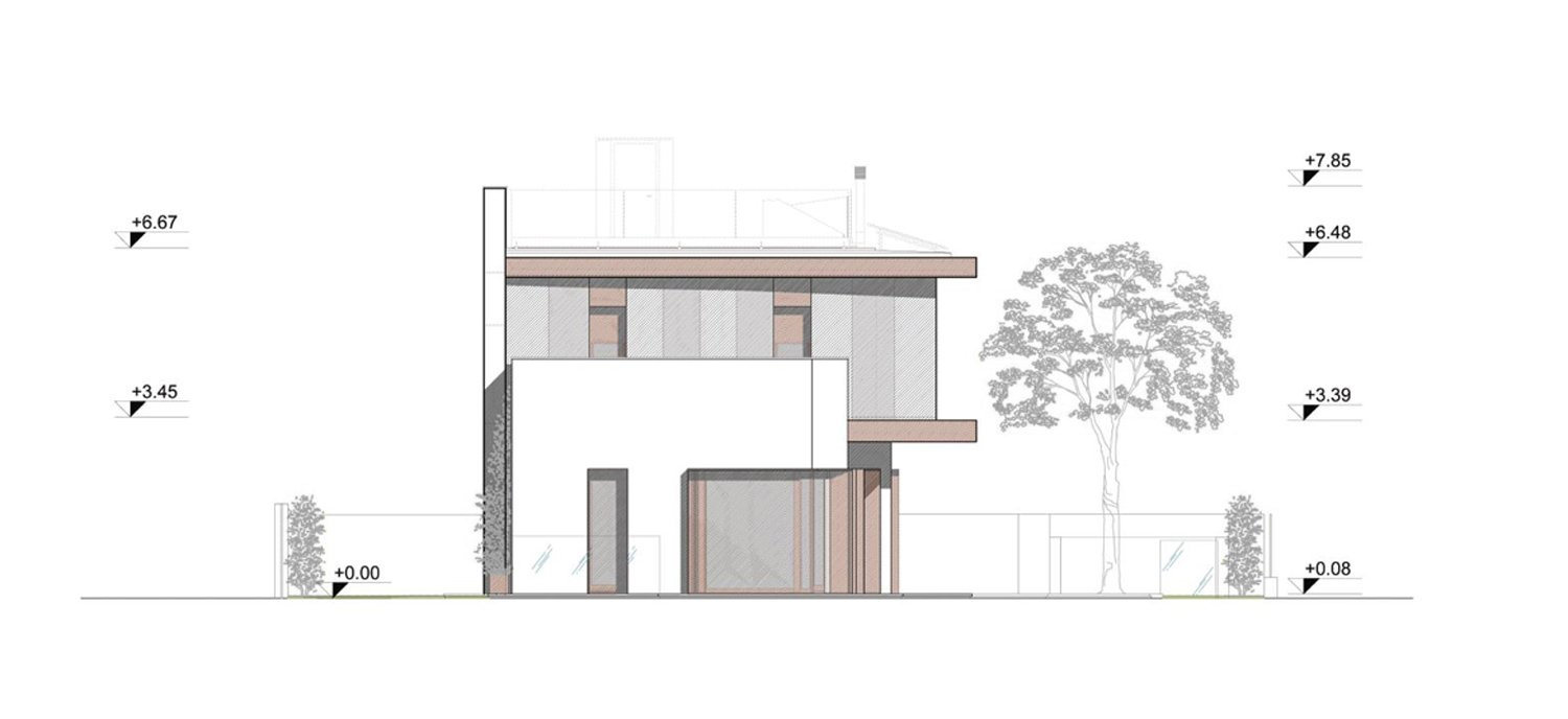 West elevation angus fiori architects}