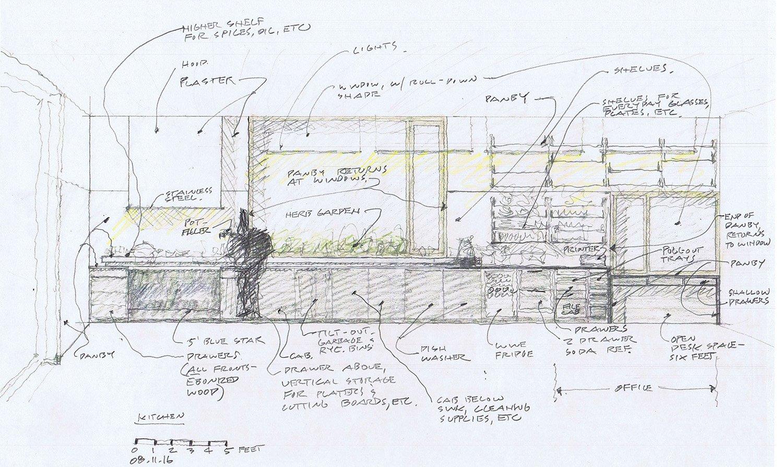 Kitchen Sketch Guzy Architects}