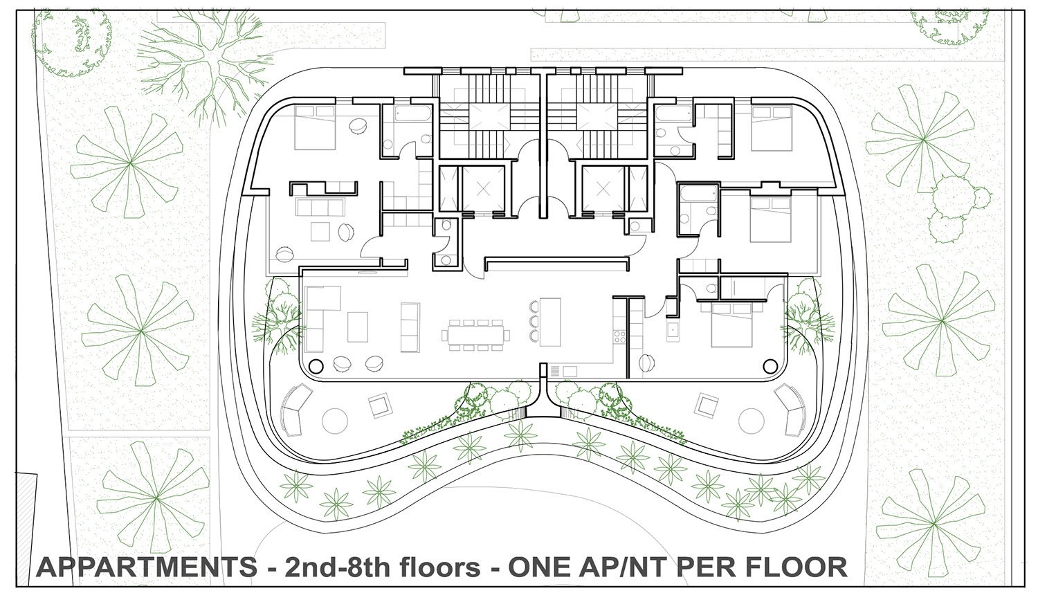 APPARTMENTS - 2nd-8th floors - ONE APNT PER FLOOR EPArchitects