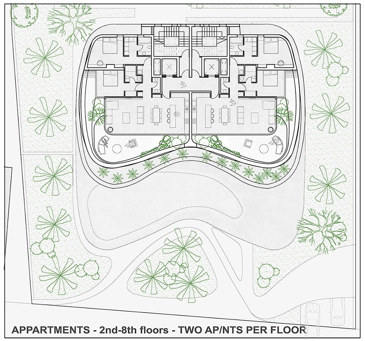 APPARTMENTS - 2nd-8th floors - TWO APNTS PER FLOOR EPArchitects
