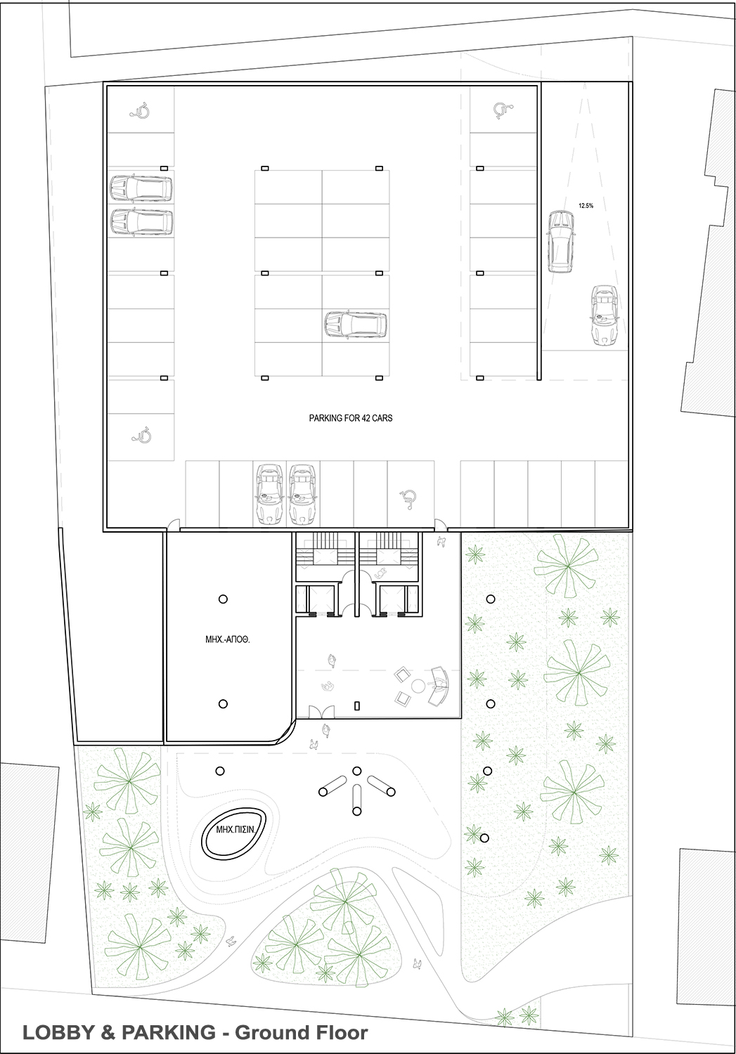 LOBBY&PRIVATE PARKING LEVEL - GROUND-FLOOR EPArchitects
