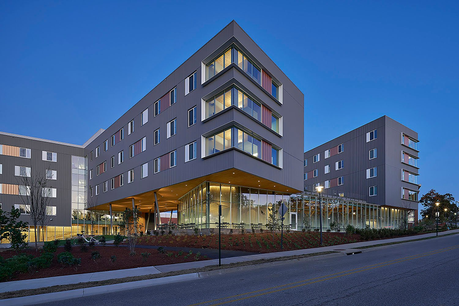 Adohi Hall Marks Southern Entry to Campus Tim Hursley Photography
