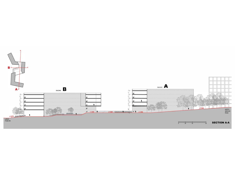 North South Section - Landscape Path Under Bridge Leers Weinzapfel Associates}