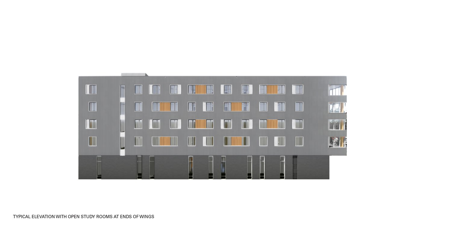 Typical Elevation with Open Study Rooms at Ends of Wings Leers Weinzapfel Associates}