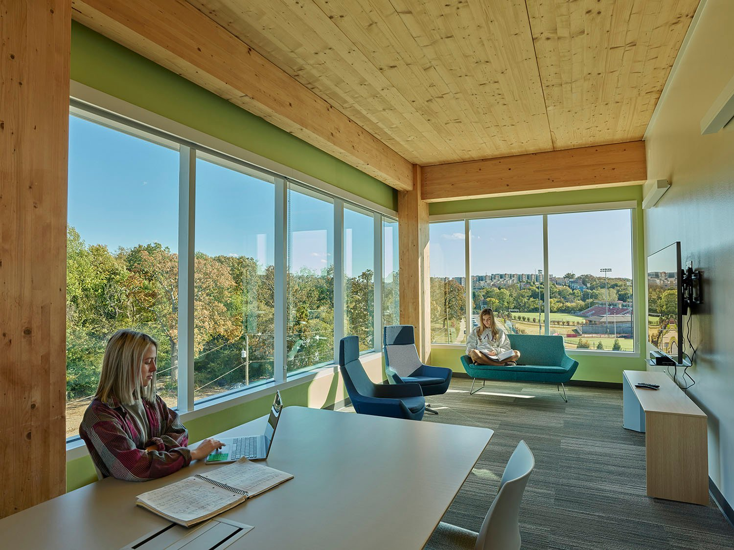 Quiet Wood Ceilinged Study Room at End of Each Wing Tim Hursley Photography