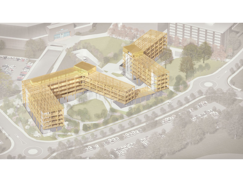 Building Phase, Beams and CLT Panels Leers Weinzapfel Associates, OLIN, Modus Studio, Mackey Mitchel}