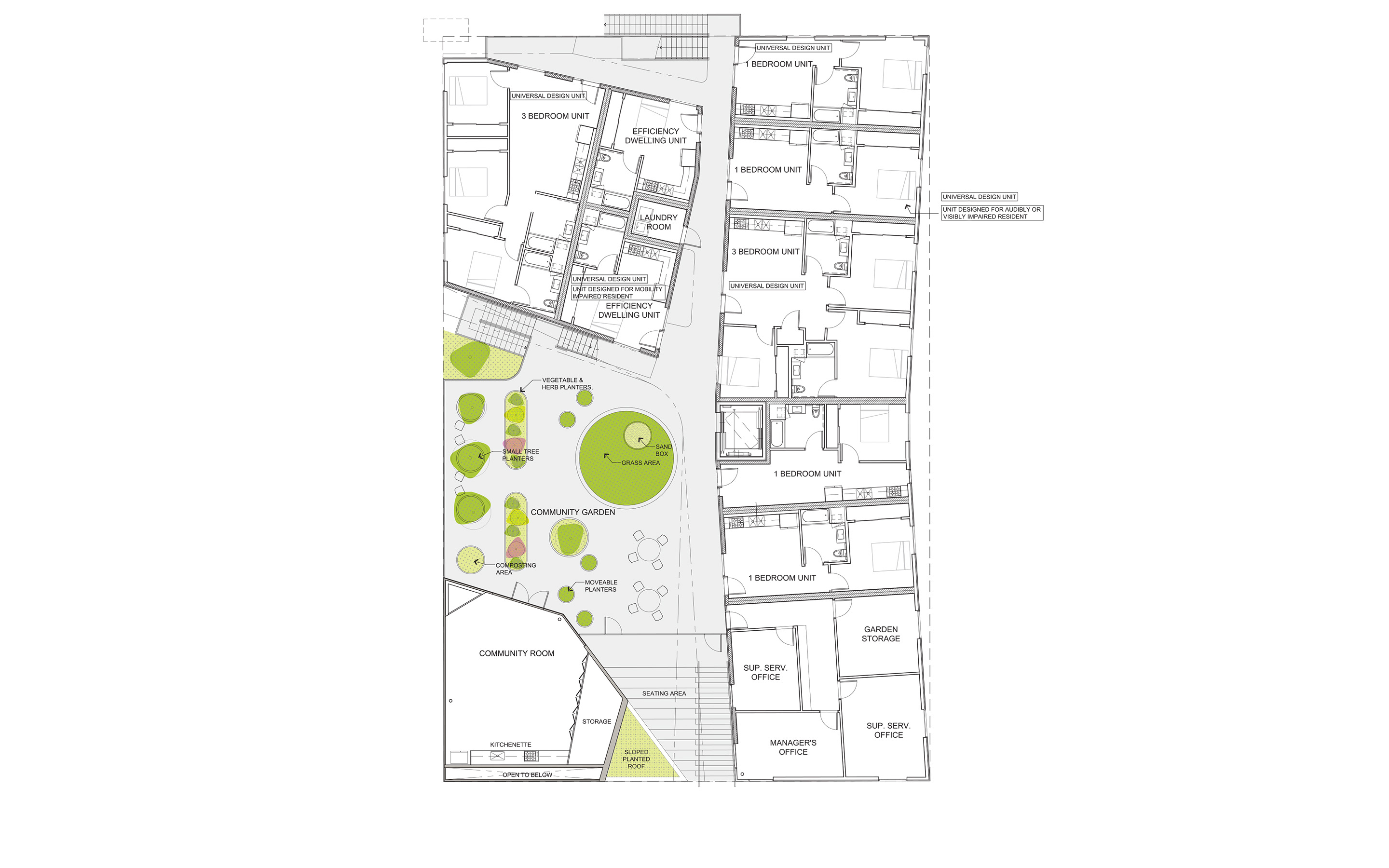 MLK1101 Supportive Housing - Site Plan Lorcan O'Herlihy Architects [LOHA]}
