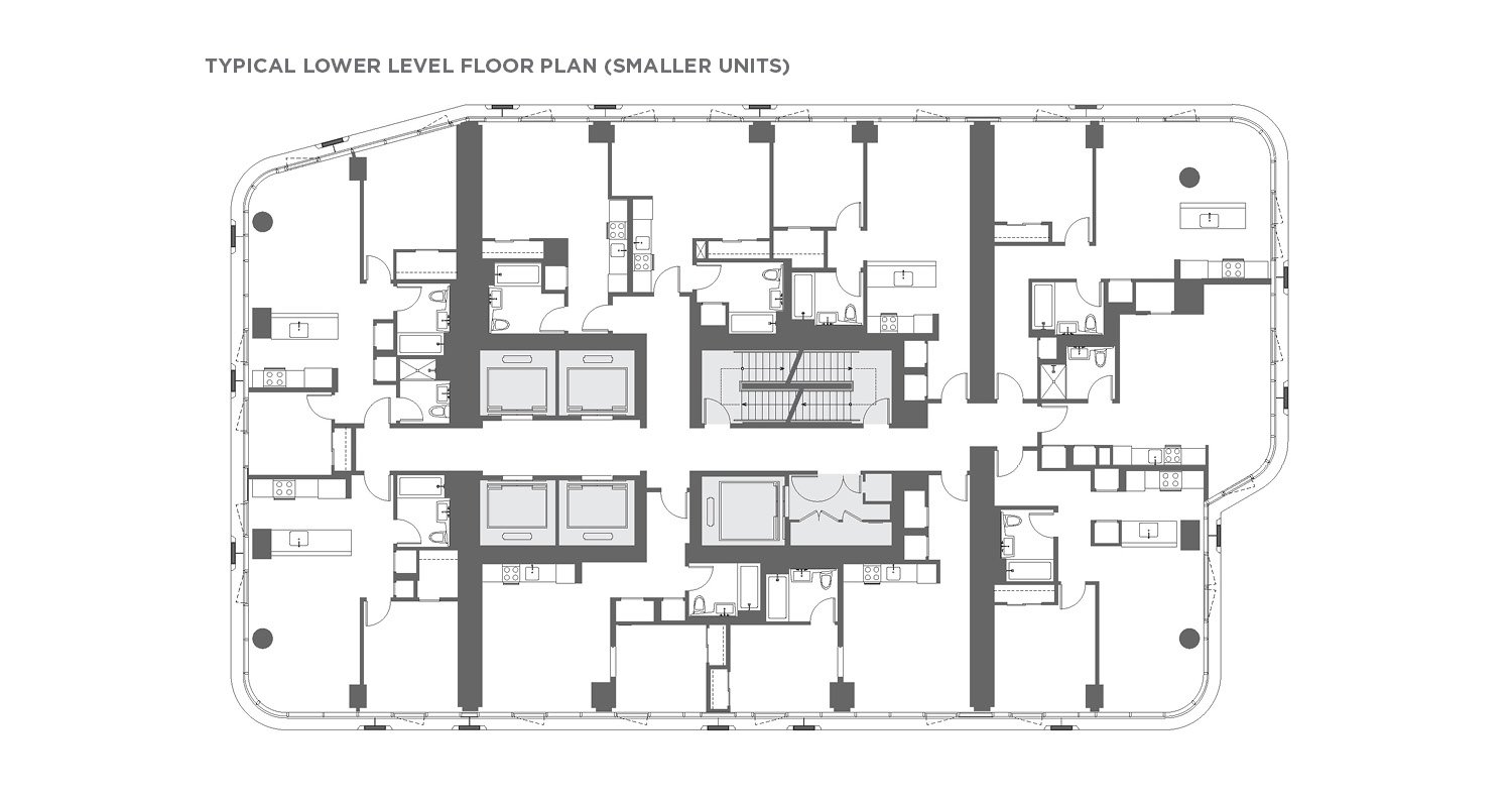 Typical lower level floor plan (smaller units) CetraRuddy Architecture}