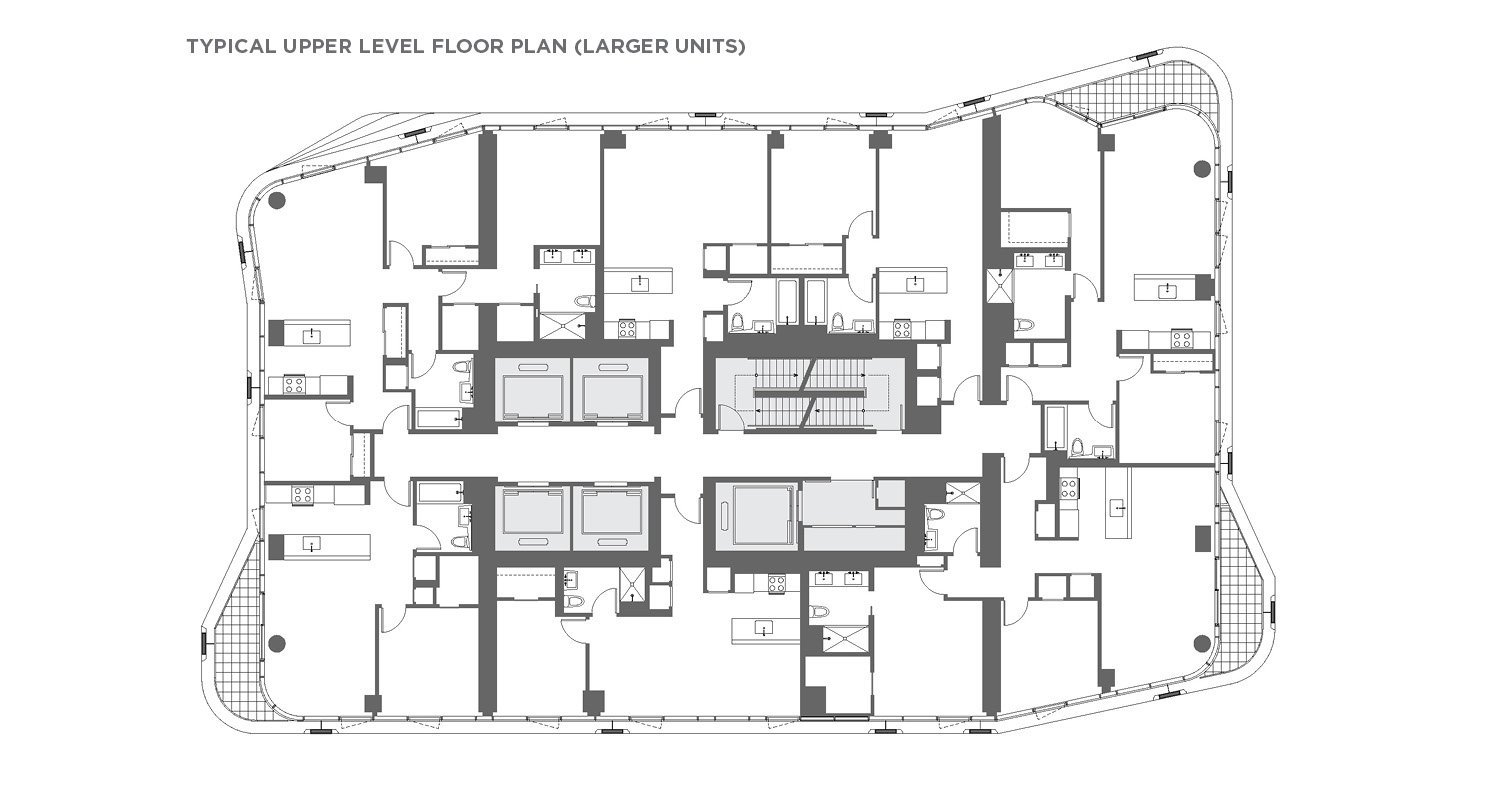 Typical upper level floor plan (larger units) CetraRuddy Architecture}