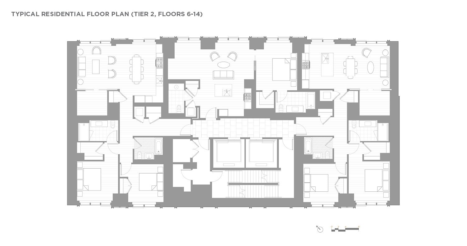 Typical Residential Floor Plan (Tier 2, Floors 6-14) CetraRuddy Architecture}