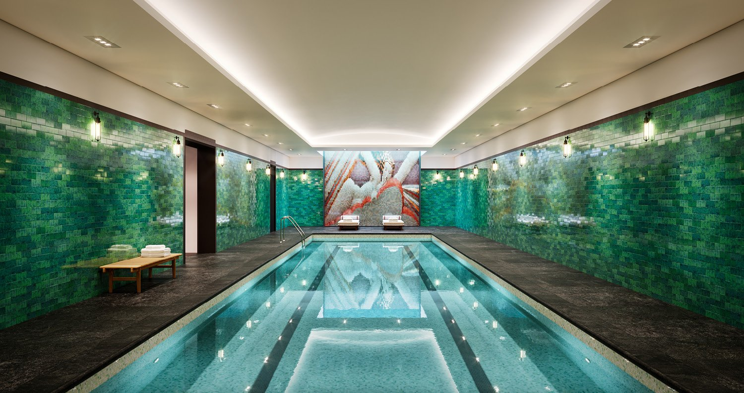 Indoor swimming pool inspired by iconic reliefs at Rockefeller Center CetraRuddy Architecture