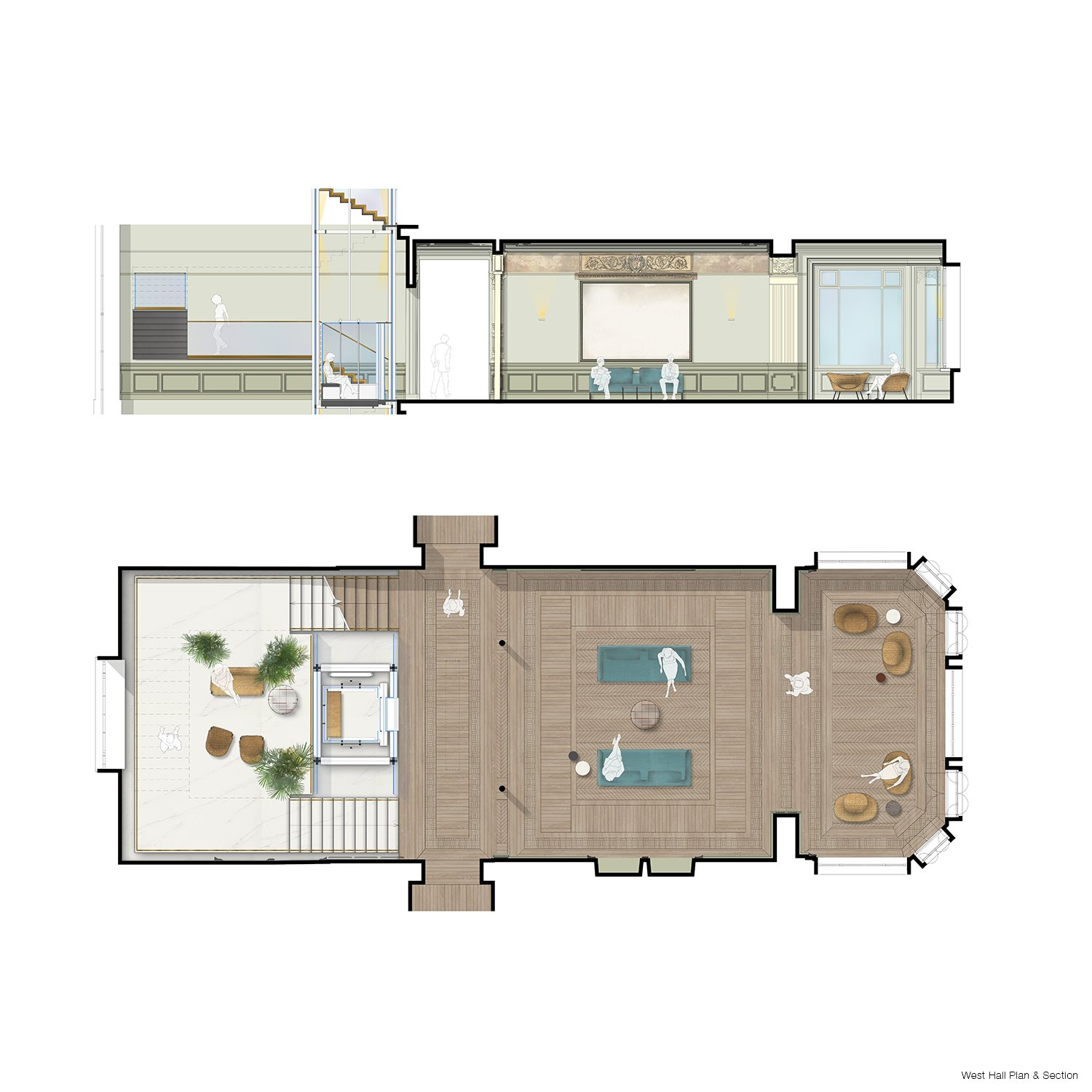 WEST HALL PLAN AND SECTION Tectoo srl}