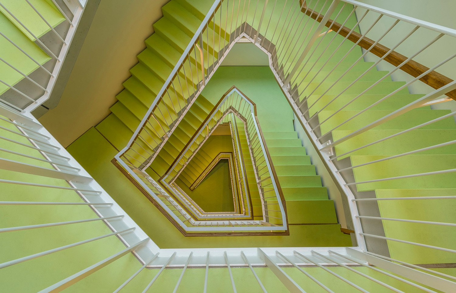 The staircase serves as an attractive area where residents will naturally meet. David Matthiessen