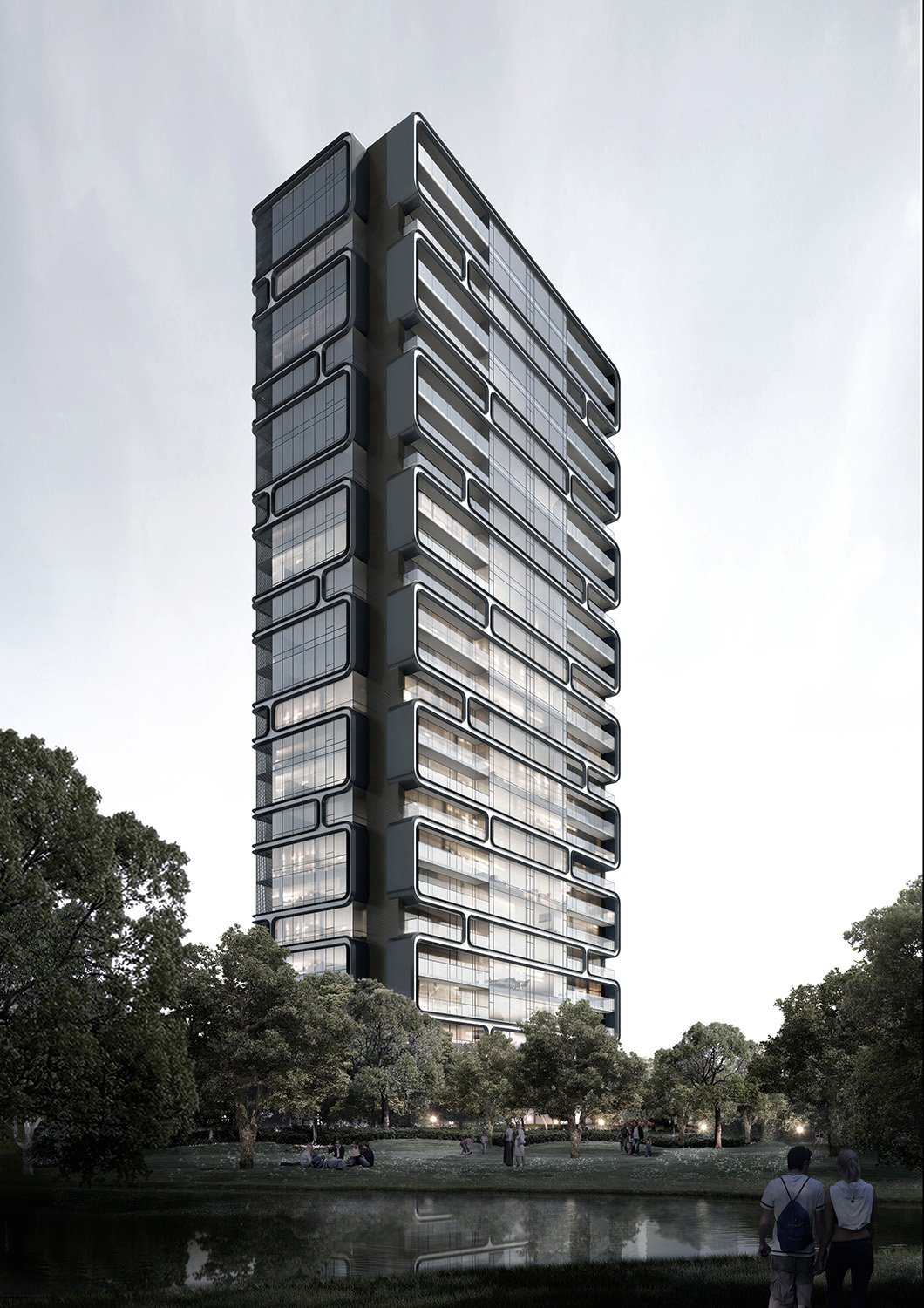High-rise residential building elevation gad · line+ studio