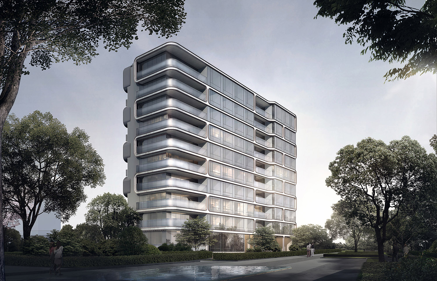 Small high-rise residential building elevation gad · line+ studio