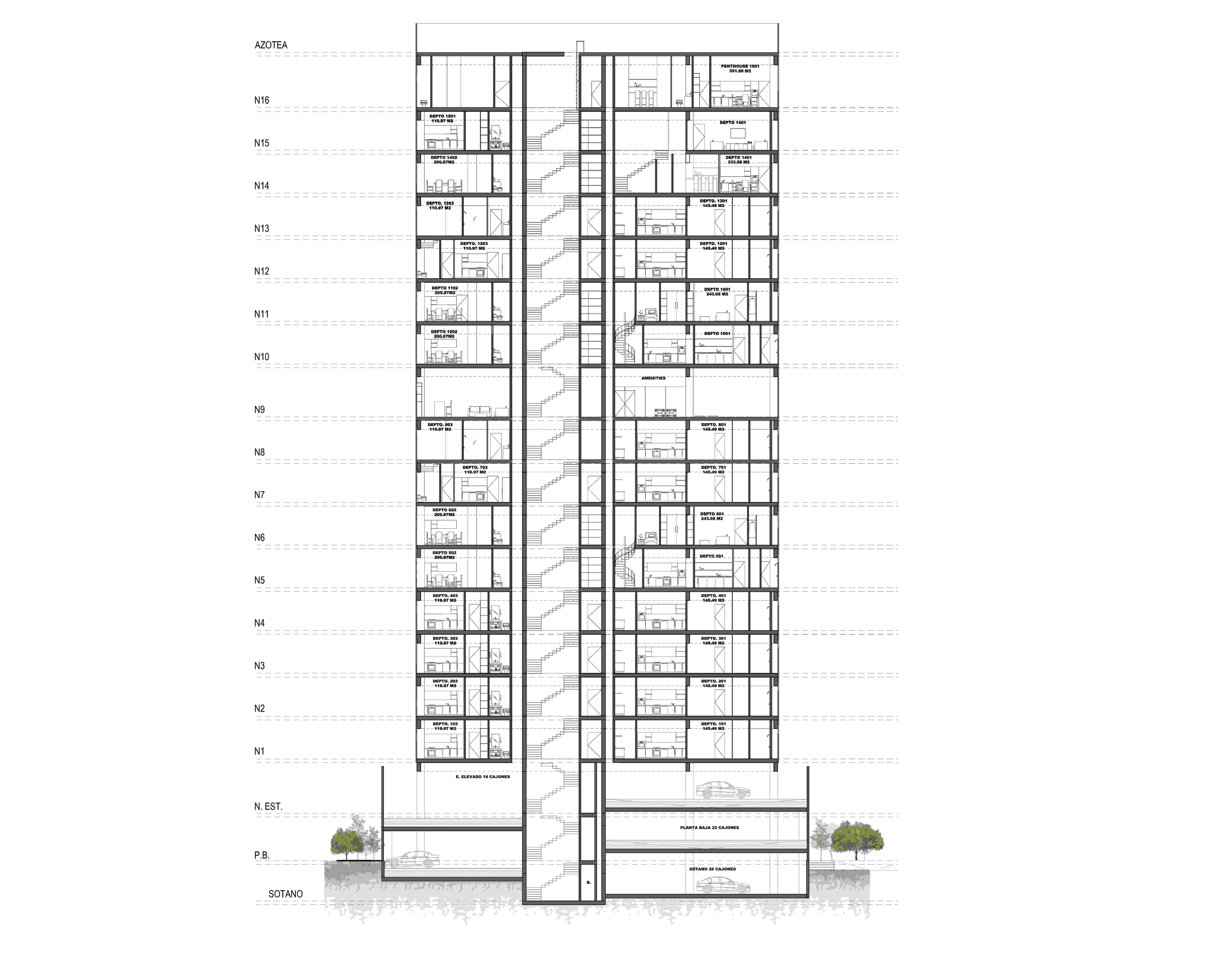 Section Plan Valdez Arquitectos}