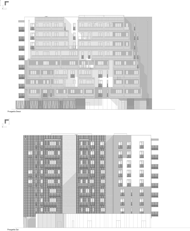Prospetti EST e OVEST edificio A1 Atelier(s) Alfonso Femia}