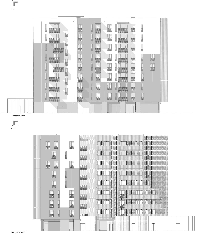 Prospetti NORD e SUD edificio A1 Atelier(s) Alfonso Femia}