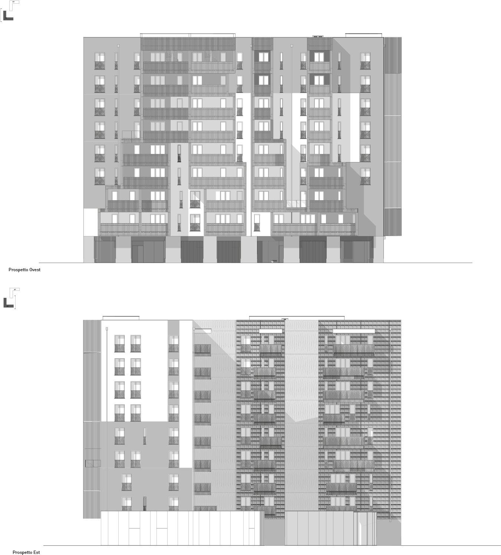 Prospetti EST e OVEST edificio A2 Atelier(s) Alfonso Femia - AF517}