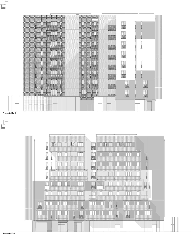 Prospetti NORD e SUD edificio A2 Atelier(s) Alfonso Femia}