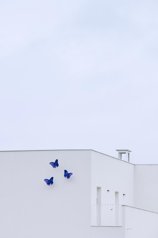 la facciata verso il giardino, le farfalle in ceramica dell'artista Danilo Trogu Stefano Anzini