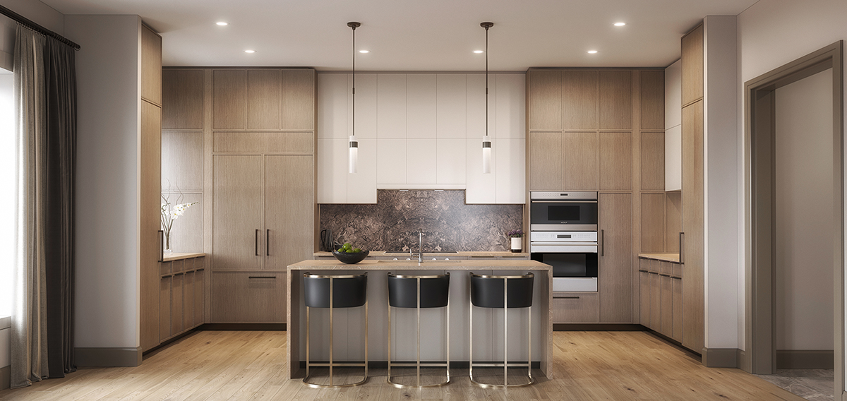The Residence Kitchen, custom italian-crafted cabinetry and top-of-the-line appliances Forrest Perkins
