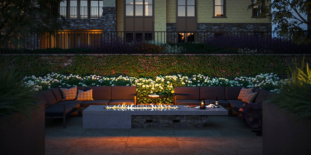 The Courtyard Fire pit, a cozy spot to converse with friends Forrest Perkins
